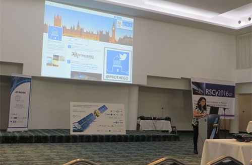 Francesca Cigna (NERC/BGS) presents PROTHEGO's geohazards in the UK WHL sites during the Special Session 'Sensing the past'.